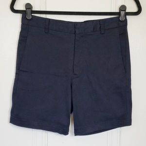 Reformation High-Waist Navy Shorts